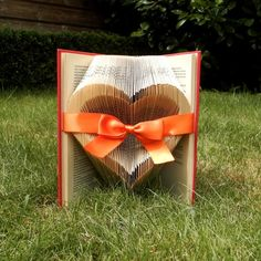 Open Heart - Orange Ribbon - Valentine's day - Folded book art - girlfriend gift - anniversary - wedding - handmade - Book Sculpture