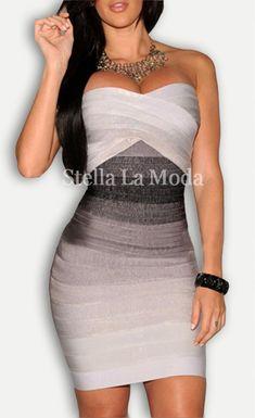 $99.99 Strapless Ombre Bandage Dress - Stella La Moda