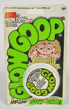 1975. Hand drawn type. Glow Goop
