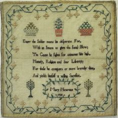 LATE 18TH CENTURY VERSE & MOTIF SAMPLER BY MARY NEWMAN - 1795