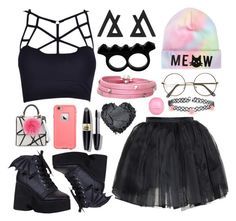 """""""pastel goth"""" by skittlebum ❤ liked on Polyvore featuring Olympia Le-Tan, Les Petits Joueurs, Accessorize, L'Artisan Créateur, Sif Jakobs Jewellery, Max Factor, River Island, women's clothing, women's fashion and women"""