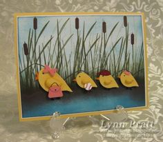 Here is my Baby Chicks and Mommy card. I used the Bird punch and the Owl Punch to make the chicks on this card. I used the Inspired by Nature stamp set for the grass. I wrote up a mini tutorial to explain how!