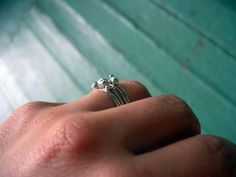Tiny Pod Stackable Rings- Set of 5. $50.00, via Etsy. - pretty......