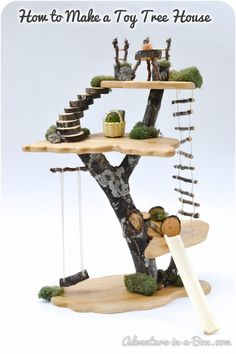 Fairy Tree House: Natural Wooden Doll House Toy by adventureinabox on Etsy Fairy Tree Houses, Fairy Garden Houses, Fairy Gardens, Diy Fairy House, Gnome Garden, Toy Trees, Fairy Garden Furniture, Cat Furniture, Bois Diy