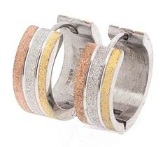 Edforce Stainless Steel Tri-Tone Huggy Earring with Glittery Sparkle Design