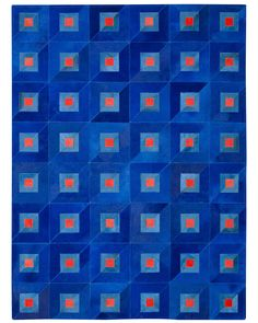 ABC Carpet & Home's new Optica leather rugs take their inspiration from the mod, geometric textiles of the 1960s. Constructed by hand in Brazil, the Cubic rug, shown in blue, measures 5' x 7'
