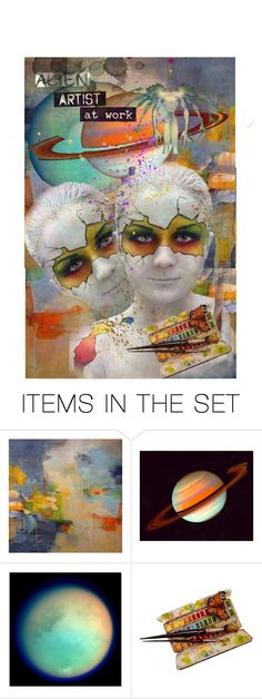 """*alien artist at work*"" by karineg ❤ liked on Polyvore featuring art"