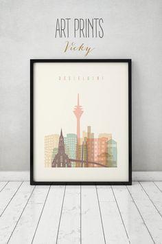Düsseldorf drucken, Poster, Wandkunst, Düsseldorf Deutschland-Skyline, City-Plakat, Typografie Kunst, Home Decor, Digital Kunstdruck, ArtPrintsVicky.