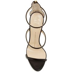 Giuseppe Zanotti     Black Leather Triple Strapped Coline Sandals (2.087.735 COP) ❤ liked on Polyvore featuring shoes, sandals, heels, zapatos, heeled sandals, thin-strap sandals, giuseppe zanotti shoes, kohl shoes, giuseppe zanotti sandals and black shoes