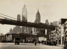 1930s New York - South Street looking toward Brooklyn Bridge by Berenice Abbott