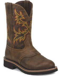 Justin Men's Rugged Stampede Waterproof Work Boots, Brown, hi-res Doc Martens Boots, Rugged Men, Mens Boots Fashion, Everyday Shoes, Western Boots, Men's Cowboy Boots, Western Wear, Duck Boots, Sport Casual