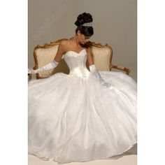 Ball Gown Sweetheart Court Train Satin Organza Tulle Wedding Dresses  $249