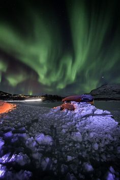 Frozen car by Robert Alexandersen on Aurora, Northern Lights, Frozen, Sky, Nature, Travel, Image, Heaven, Naturaleza
