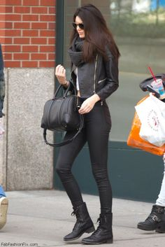 Kendall Jenner street style with leather jacket
