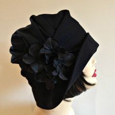 Cloche Hat Flapper Style, Black Wool with Hydrangea Flower Pin the Alice