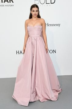 Elegant Barbara Palvin in Prada pink gown at 2017 amfAR Gala at Cannes Film Festival.