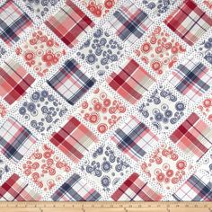 """Vintage Cuts Patchwork Pink/Blue from @fabricdotcom  Designed for Textile Creations, this lightweight fabric is perfect for flirty blouses, dresses and shirts. It is a finely woven lawn that that features 4.25"""" x 4.25"""" patches separated by sheer lace."""