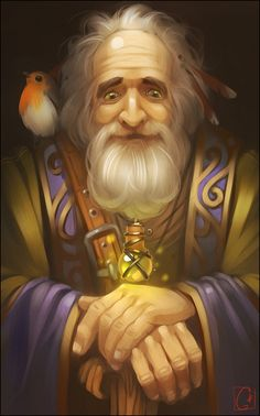 Old wizard by GaudiBuendia elderly beard bearded bird familiar shaman sorcerer potion staff armor clothes clothing fashion player character npc | Create your own roleplaying game material w/ RPG Bard: www.rpgbard.com | Writing inspiration for Dungeons and Dragons DND D&D Pathfinder PFRPG Warhammer 40k Star Wars Shadowrun Call of Cthulhu Lord of the Rings LoTR + d20 fantasy science fiction scifi horror design | Not Trusty Sword art: click artwork for source