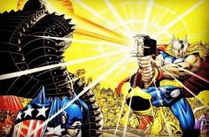 The Mighty Thor versus The Destroyer by John Romita Jr and Klaus Janson.