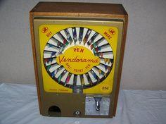 Vintage 1950s ballpoint pen vending machine.