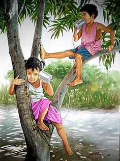 Stunning Watercolor Paintings by Philippines Artist Jose Vistan Composition Painting, Art Village, Village Drawing, Village Kids, Indian Art Paintings, Art Drawings Sketches, Beautiful Paintings, Beautiful Sketches, Cute Art