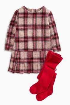Buy Red Check Dress And Tights Set (3mths-6yrs) online today at Next: Portugal