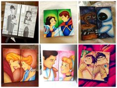 custom disney canvas set of two made to order by Jaysart on Etsy, $30.00