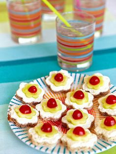 For a posh party snack, serve these Blossom Tea Sandwiches. Shape cucumber and bread slices with cookie cutters (we used 2 1/4- and 1 1/2-inch sizes). Spread cream cheese on the bread, then top with a cuke slice and a halved cherry tomato.