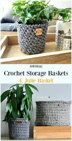 Crochet for beginners basket free pattern 27 Ideas Crochet Storage, Crochet Diy, Crochet Gratis, Crochet Home Decor, Crochet Ideas, Knitting Patterns, Crochet Patterns, Free Knitting, Crochet Basket Pattern