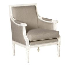 photos of bedroom lounge chairs | Linen/White French Chateau Lounge Chair - Bedroom Chairs - Bedroom