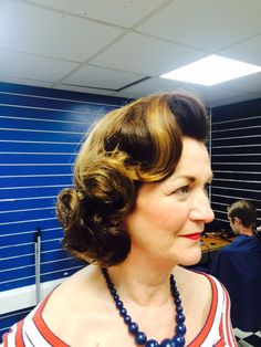 Vintage Hairstyles One of our customers Hair 1950s Hairstyles, Curled Hairstyles, Vintage Hairstyles, V Bangs, Rockabilly Hair, Retro Waves, Pin Curls, Page Boy, Hair Makeup