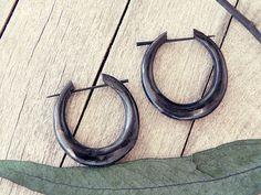 Wood earrings African earrings tribal hoops tribal by CarmelaRosa