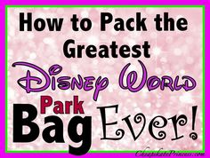 How to pack the BEST Disney World theme park bag EVER! (Planning article)