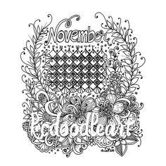 instant digital download coloring page november calendar
