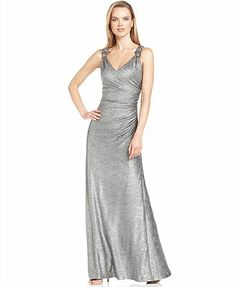 Macy's - Calvin Klein Beaded Metallic Gown