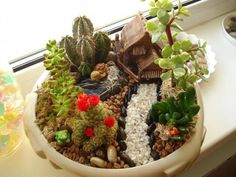 Miniature garden designs in flowerpots and Fairy gardens in small containers are new trends in small container gardening that offer a fun way to create tiny realistic landscapes that reflect the atmosphere and charming beauty of real natural settings Garden Terrarium, Succulents Garden, Succulent Ideas, Garden Planters, Backyard Garden Landscape, Large Backyard, Gravel Garden, Water Garden, Mini Fairy Garden