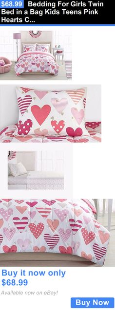 Kids at Home: Bedding For Girls Twin Bed In A Bag Kids Teens Pink Hearts Comforter Bedroom New BUY IT NOW ONLY: $68.99