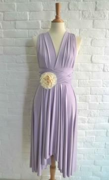 Simple Multi Wear Lavender Asymmetrical Short Bridesmaid Dress