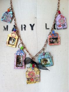 By Design Team Member Gerri Herbst using the Mini House Charm Cut Outs from Retro Café Art Gallery www.RetroCafeArt.com