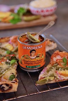"""My all time fave combo is Jalapeno Peach Pizza. I use @lamorenausa jalapenos- the hightest quality of peppers available nationwide. La Morena is offering to buy your lunch """"Lunch Is On Us"""" program, basically """"buy 2 cans, get $10 back!"""" Buy at @northgateglzmrk. Wanna make my pizza? Take a frozen cheese pizza, add La Morena sliced jalapeños, peach slices, red onion, tomato, parmesan cheese, fresh basil leaves, black pepper, & a drizzle of olive oil. Bake IT! #LunchWithLM #VivaLaMorena #sponsored"""