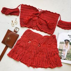 """Outcast Clothing 👉🏼App Out Now on Instagram: """"two piece sets are our favourite! ' PIXIE TOP IN RUST ' matched with our ' MOVE YOU SKIRT IN RUST ' 🔥🔥 Shop online now! #outcastclothing"""" Crochet Skirts, Crochet Crop Top, Crochet Clothes, Diy Clothes, Crochet Bikini, Knit Crochet, Beach Cover Up Skirt, Crochet Two Piece, Handmade Skirts"""
