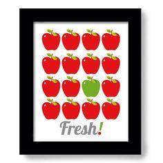Red apples kitchen art print kitchen decor