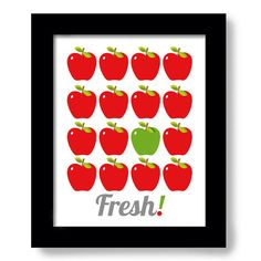 Red apples kitchen art print kitchen decor