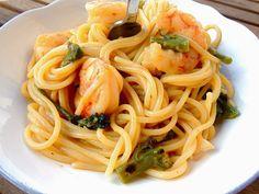 Les receptes que m'agraden: Espaguetis light con gambas y brócoli - Espaguetis light amb gambes i bròquil