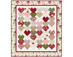 """""""Stacked Hearts"""" PDF Quilt Pattern   Craftsy"""
