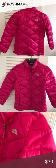 Kids pink NorthFace quilted jacket Kids size quilted NorthFace puffer jacket. Great condition except for a few stains shown above North Face Jackets & Coats Puffers