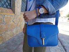 http://unachicasual.blogspot.com.es/2015/03/wear-blue.html  blue, girl, inspiration, ootd, outfit, spring, ideas, jacket, denim, shirt, white, bag, watch, bracelet