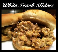 White Trash Sliders on MyRecipeMagic.com:  Your family will thank you for this one!  Once I was even out of buns, and took crescent rolls and rolled them out flat on a baking sheet and spread the hot meat mixture all over the already baked crescent rolls and my family raved about it!  Enjoy & don't forget to repin and share with friends!