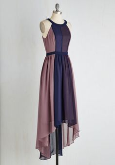 Feel like royalty in this airy colorblocked maxi - part of our ModCloth namesake label! Featuring roomy pockets, a gathered waist, and an elegant high-low hem, this mauve and midnight blue dress will have you radiating beauty and kindness throughout the land!