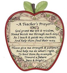 "Teacher Apple Plaque ""A Teacher's Prayer"" More"